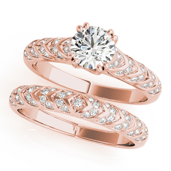 Cathedral Trellis Arrow Diamond Bridal Set in Rose Gold