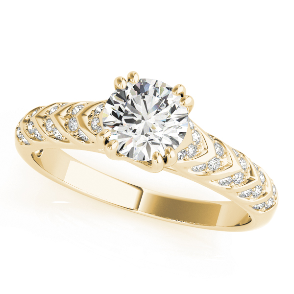 Cathedral Trellis Arrow Diamond Engagement Ring in Yellow Gold