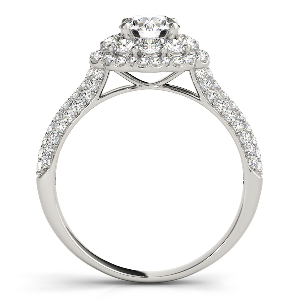 Double Halo Cathedral Diamond Engagement Ring with Etoil Band