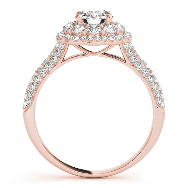 Double Halo Cathedral Diamond Bridal Set in Rose Gold with Etoil Band