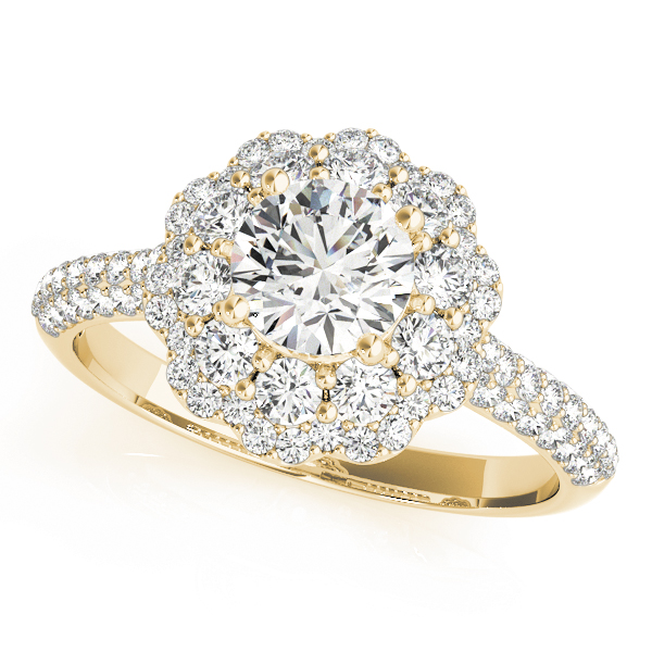 Double Halo Cathedral Diamond Engagement Ring with Etoil Band in Yellow Gold
