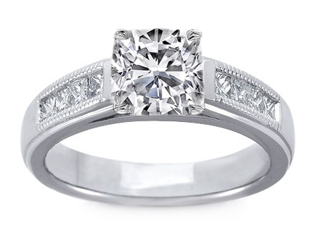 Milligrain Cushion Diamond Cathedral Engagement Ring 0.32 tcw. In 14K White Gold
