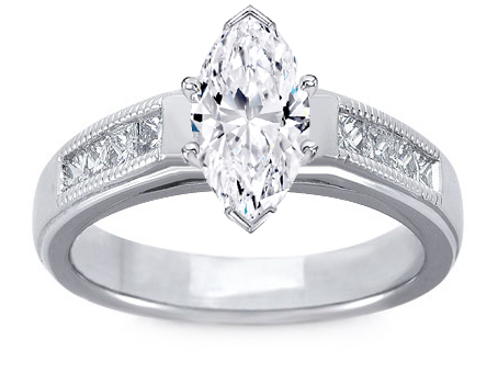 Milligrain Marquise Diamond Cathedral Engagement Ring 0.32 tcw. In 14K White Gold