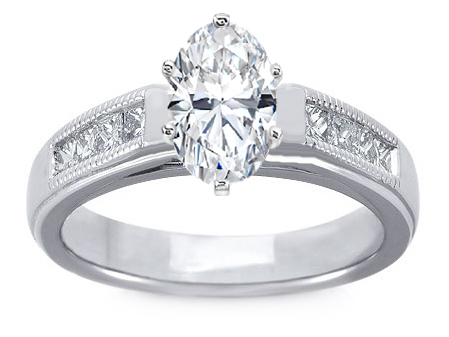 Milligrain Oval Diamond Cathedral Engagement Ring 0.32 tcw. In 14K White Gold