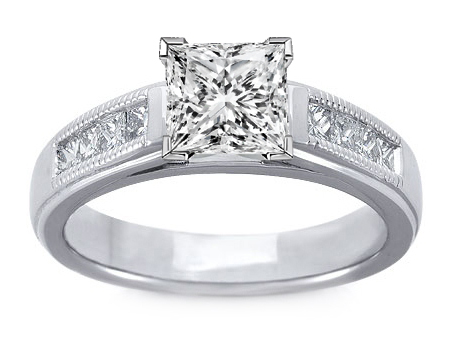 Milligrain Princess-Cut Diamond Cathedral Engagement Ring 0.32 tcw.