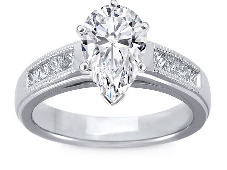 Milligrain Pear Shape Diamond Cathedral Engagement Ring 0.32 tcw. In 14K White Gold