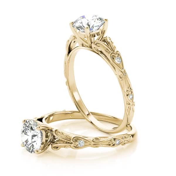 Split Band Cathedral Engraved Petite Diamond Engagement Ring Yellow Gold