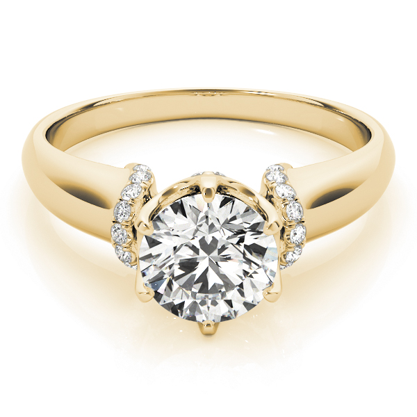 Contour Crown Engagement Ring with Diamond Shoulder in Yellow Gold
