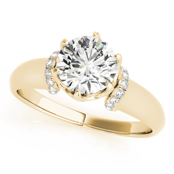 Contour Crown Engagement Ring with Diamond Shoulder Yellow Gold