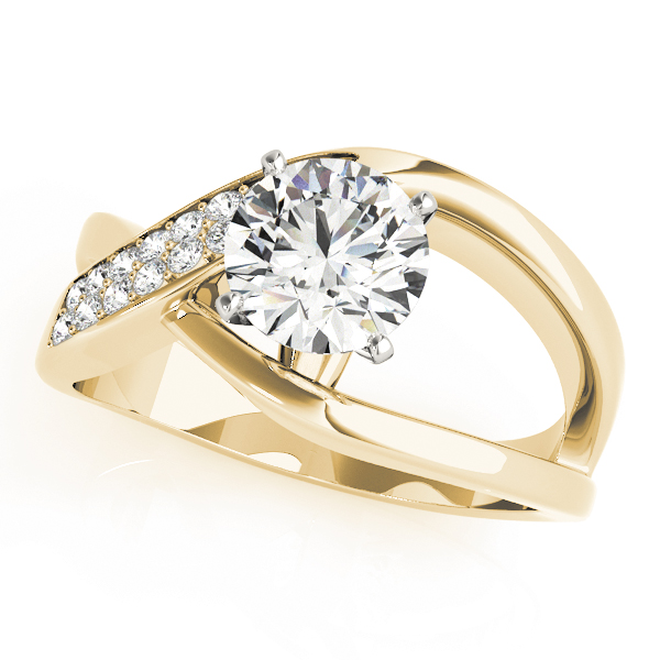 Wide Intertwined & Split Band Diamond Engagement Ring in Yellow Gold