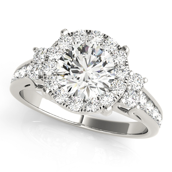 Cathedral Large Diamond Halo Engagement Ring with Three Stone Look