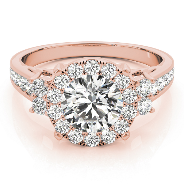 Cathedral Large Diamond Halo Engagement Ring with Three Stone Look in Rose Gold