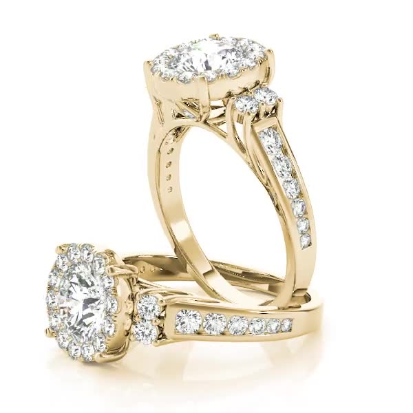 Cathedral Large Diamond Halo Engagement Ring with Three Stone Look in Yellow Gold