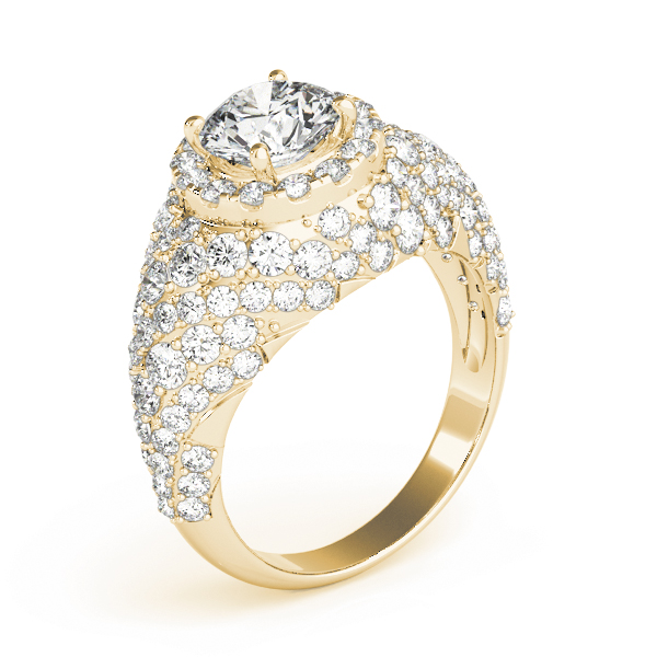 Large Halo Diamond Etoil Engagement Anniversary Ring in Yellow Gold