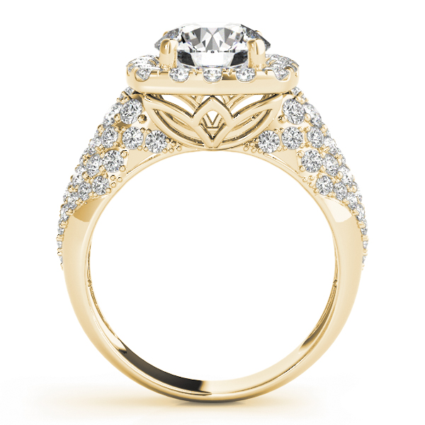 Large Square Halo Diamond Engagement Ring with Filigree in Yellow Gold