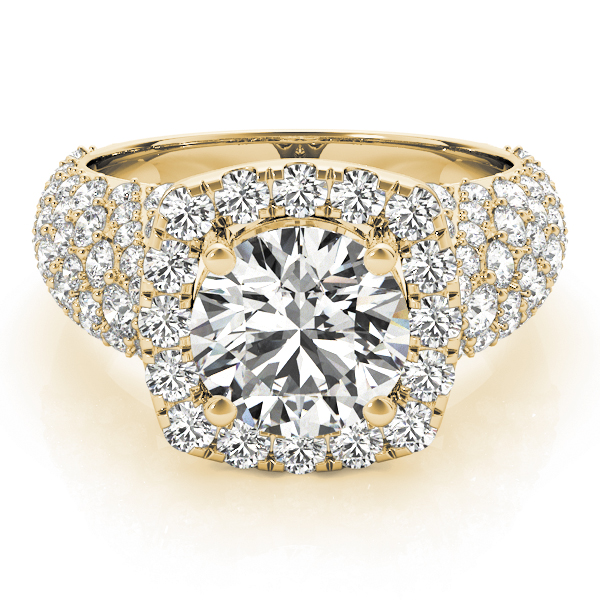 Large Square Halo Diamond Engagement Ring with Filigree Yellow Gold