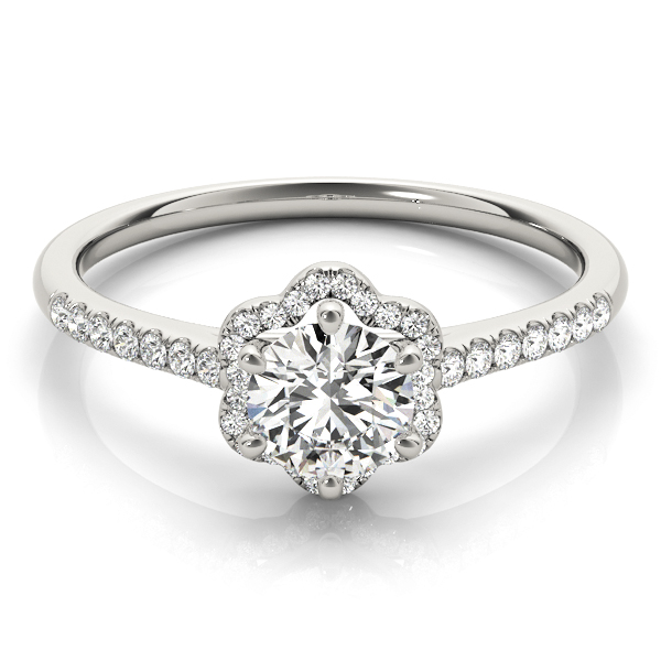 Petite Floral Diamond Cathedral Engagement Ring