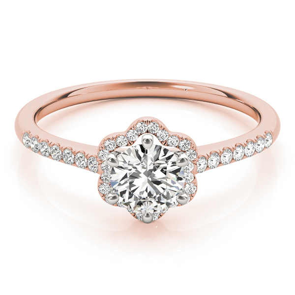Petite Floral Diamond Cathedral Engagement Ring in Rose Gold