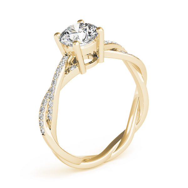 Petite Eternity Intertwined Diamond Engagement Ring Yellow Gold