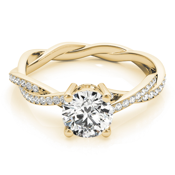 Petite Eternity Intertwined Diamond Engagement Ring in Yellow Gold