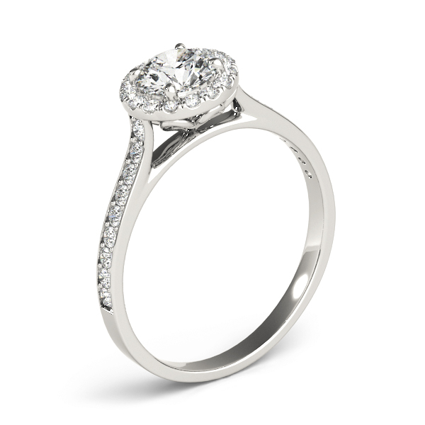 Classic Halo Twist Diamond Cathedral Engagement Ring