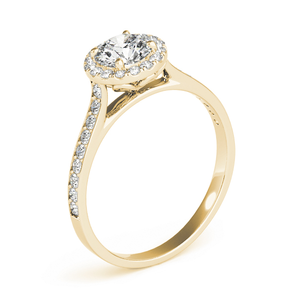 Classic Halo Diamond Cathedral Engagement Ring  in Yellow Gold