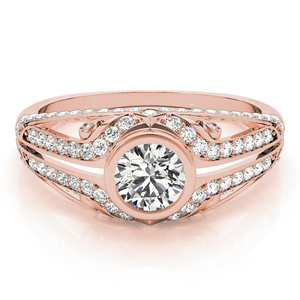 Bezel Diamond Contour Engagement Ring in Rose Gold