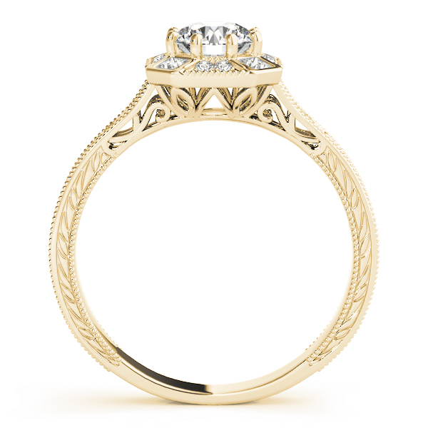 Octagon Halo Diamond Engraved Engagement Ring in Yellow Gold