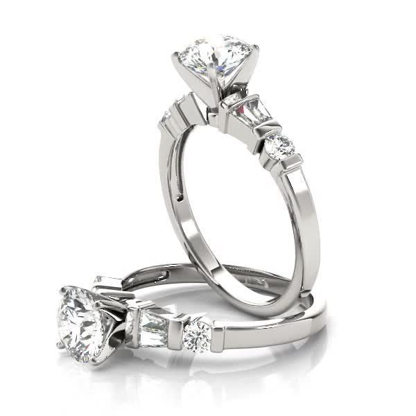 Classic Baguette & Round Diamond Ring in Platinum