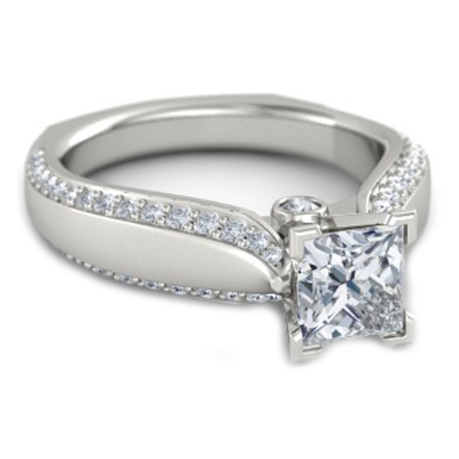 Cathedral Tapered Pave Band Engagement Ring