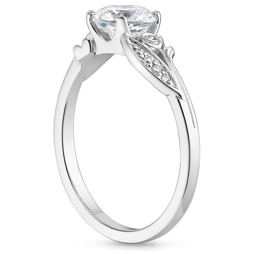 Floral Three Stone Vine Engagement Ring