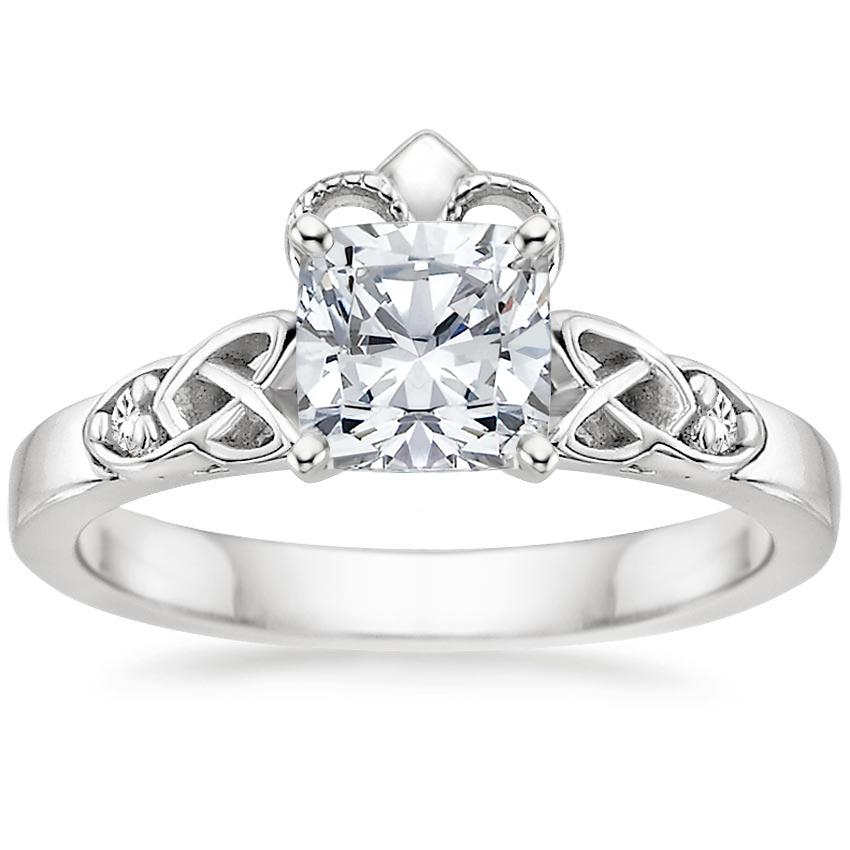 Cushion Diamond Celtic Claddagh Engagement Ring