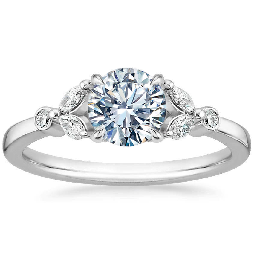 Floral Petals Diamond Petite Engagement Ring