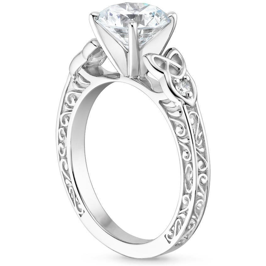 Cathedral Celtic Engraved Diamond Engagement Ring