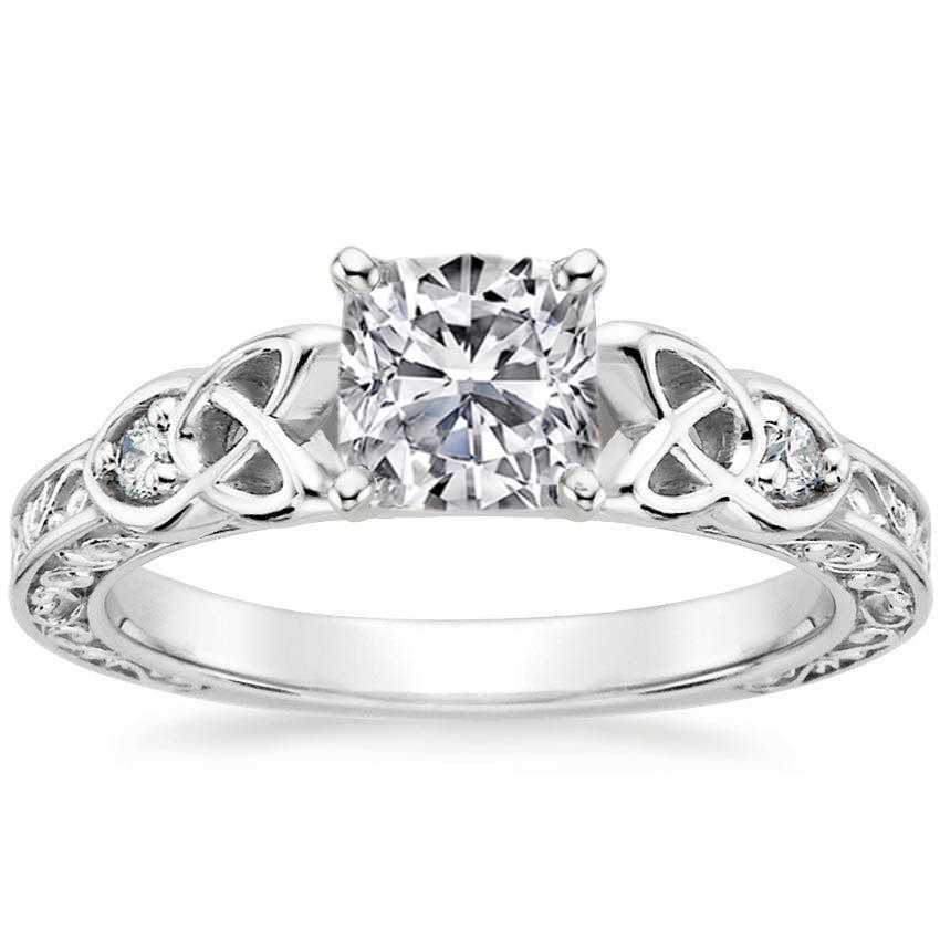 Cushion Celtic Engraved Diamond Engagement Ring