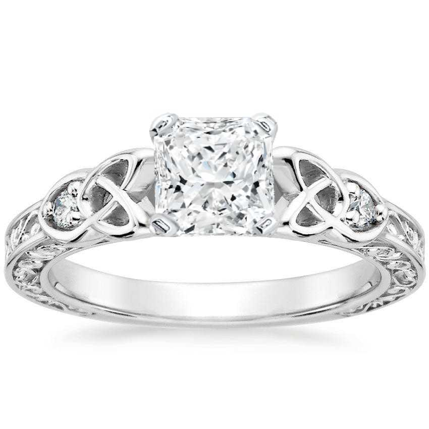 Radiant Celtic Engraved Diamond Engagement Ring