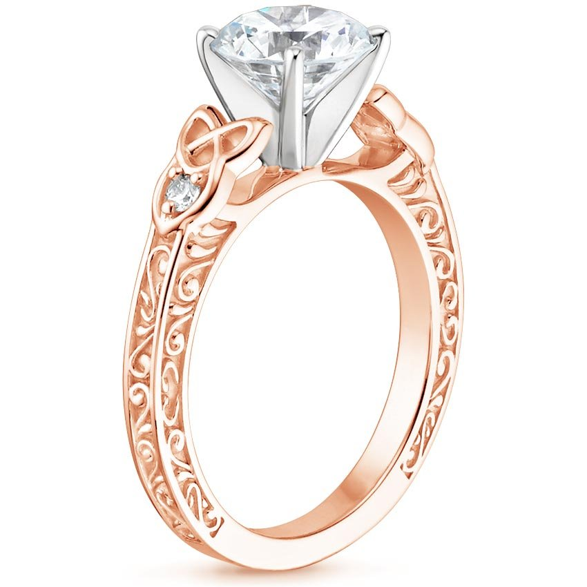 Rose Gold Celtic Engraved Diamond Engagement Ring