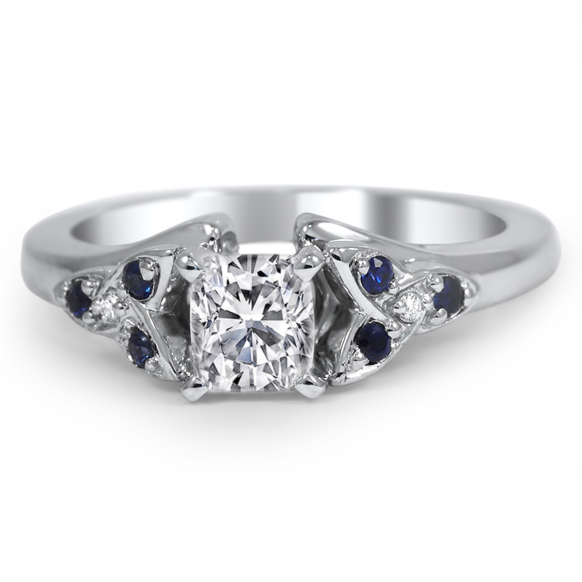 Cushion Diamond & Sapphire Celtic Petite Engagement Ring