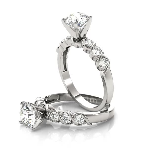 Petite Helix Diamond Engagement Ring