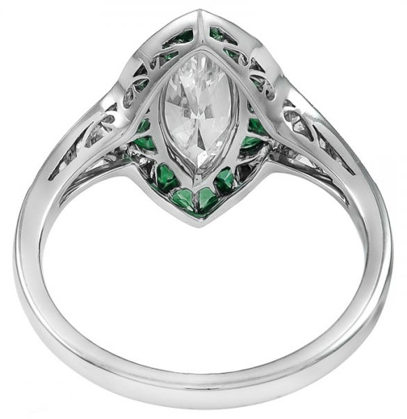Green Tourmaline & Diamond Marquise Cut Halo Art Deco Engagement Ring