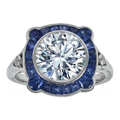 Large Round Diamond Art Deco Engagement Ring with Blue Sapphires Halo