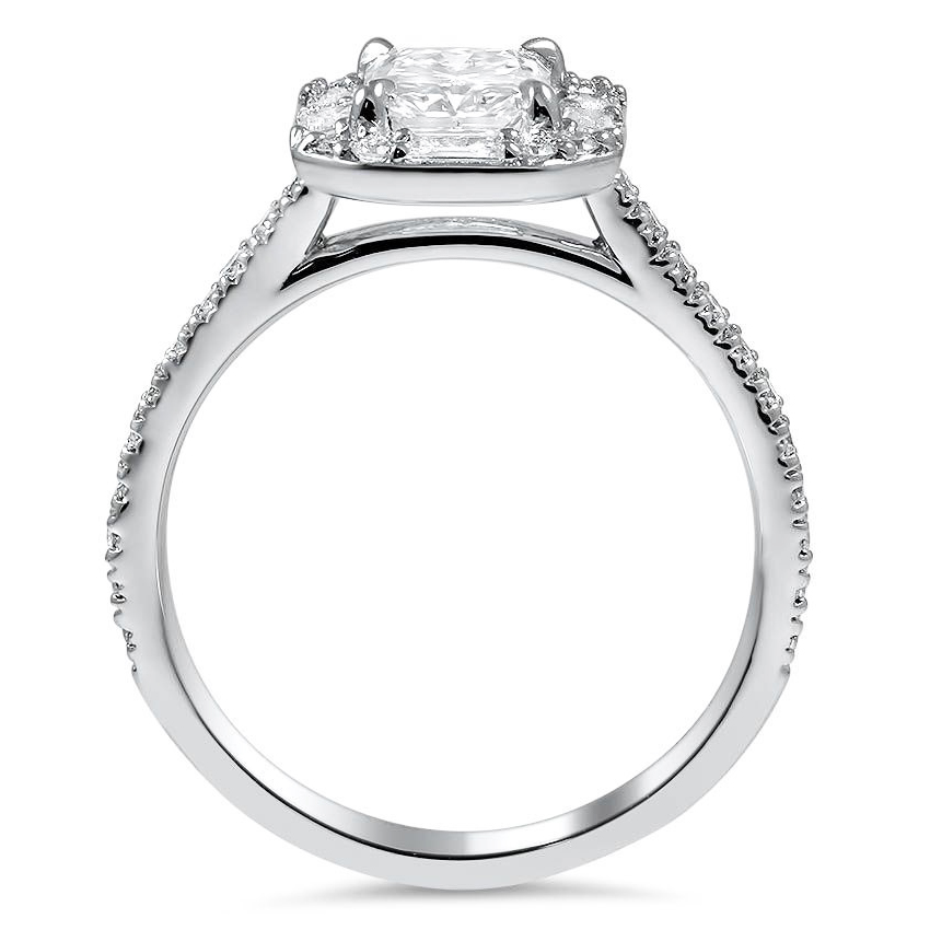 Radiant Cathedral Diamond Engagement Ring with Baguette & Round Halo