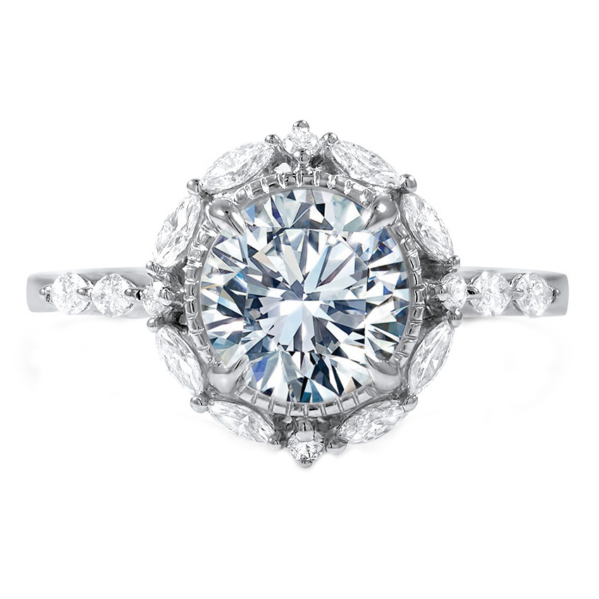 Cathedral Diamond Halo Engagement Ring with Marquise & Round Diamonds