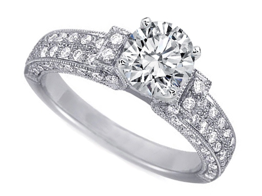 Diamond Silhouette Three sided Pave Engagement Ring 0.83 tcw in 14K White Gold