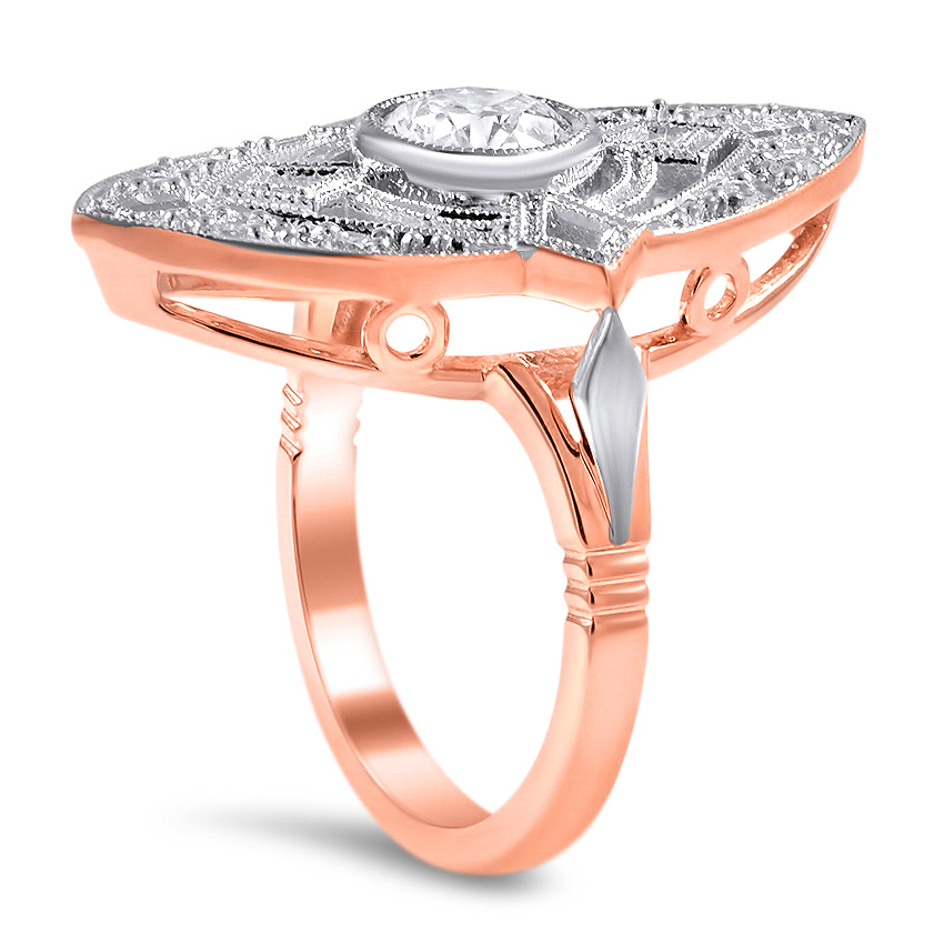 Two Tone Art-Deco Halo Diamond Engagement Ring
