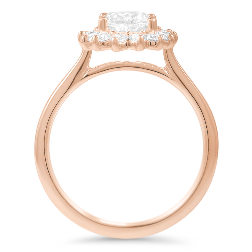 Floral Oval Halo Diamond Engagement Ring in Rose Gold