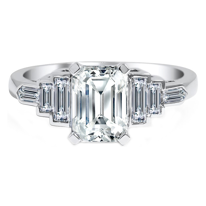 Baguette & Bullet Cut Diamond Engagement Ring