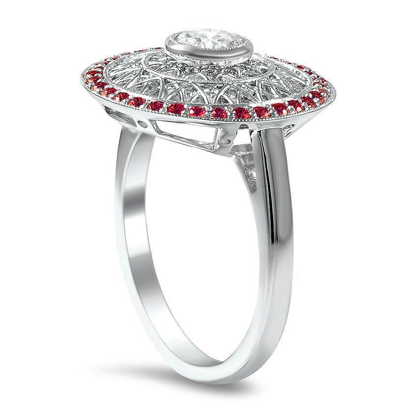 Large Art-Deco Halo Filigree Diamond Engagement Ring with Rubies