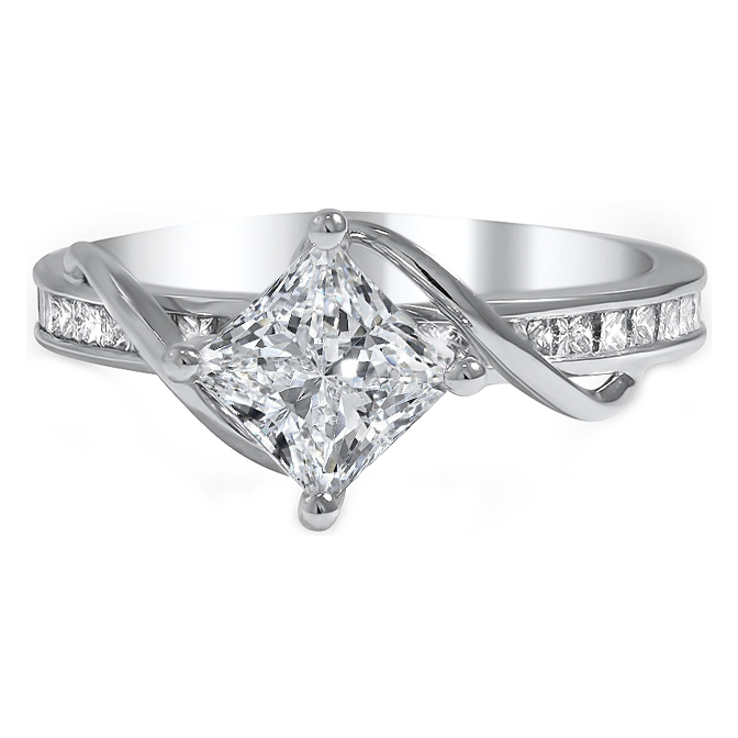 Radiant Diamond Swirl Engagement Ring with Princess Accents