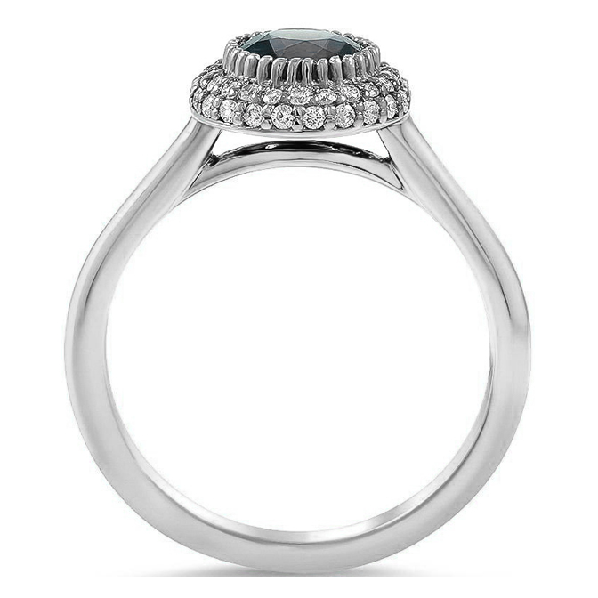 Double Halo Petite Diamond Engagement or Promise Ring